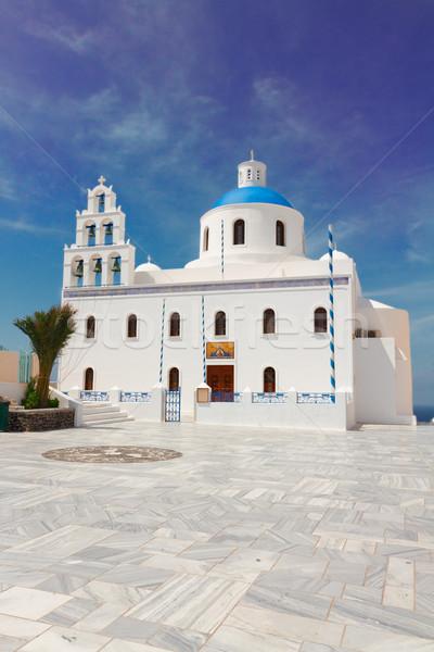 Ortodox templom Santorini nyár nap Görögország Stock fotó © neirfy