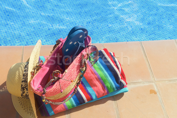 towel and bathing accessories near pool Stock photo © neirfy