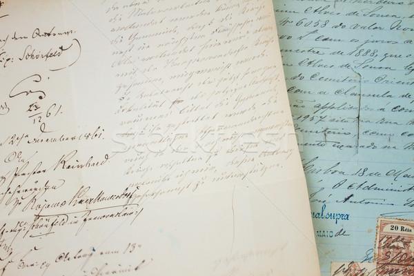 Stock fotó: Kézzel · írott · levél · szett · antik · kopott · levelek