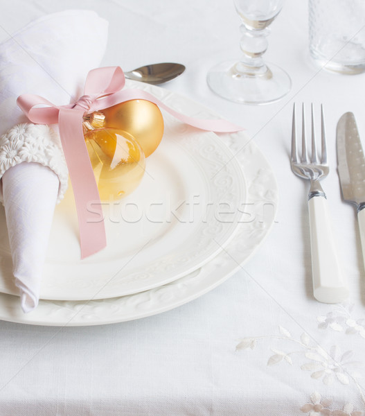 посуда набор Рождества пластин нержавеющий ножом Сток-фото © neirfy