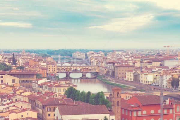 Florence Olaszország városkép híres híd retro Stock fotó © neirfy
