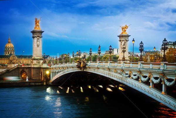 Stok fotoğraf: Köprü · Paris · Fransa · gece · Retro · şehir