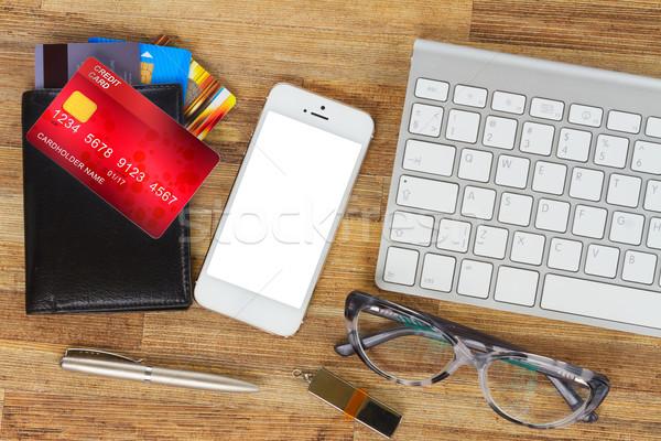 ストックフォト: ショッピング · 携帯電話 · デスクトップ · ウォレット · プラスチック · カード