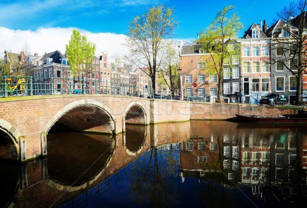 домах Нидерланды канал красивой Размышления небе Сток-фото © neirfy