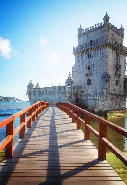 Lisbona Portogallo facciata ponte punto di riferimento retro Foto d'archivio © neirfy