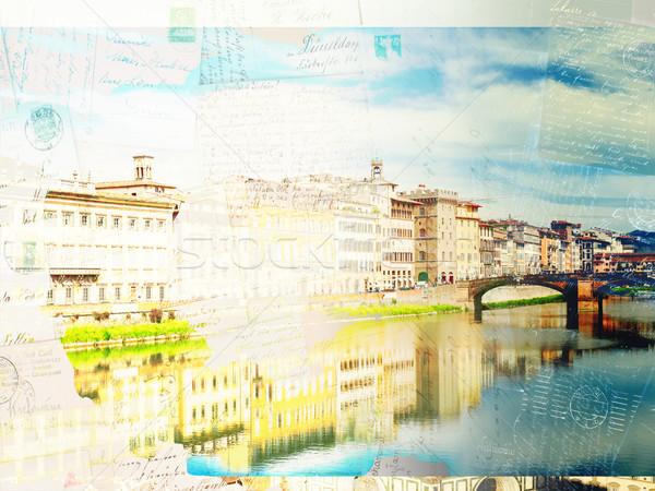 旧市街 川 フィレンツェ イタリア ヴィンテージ はがき ストックフォト © neirfy
