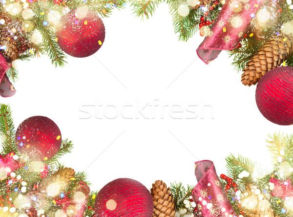 Foto d'archivio: Evergreen · albero · rosso · Natale · decorazioni · bokeh
