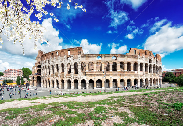 Колизей закат Рим Италия руин антикварная Сток-фото © neirfy