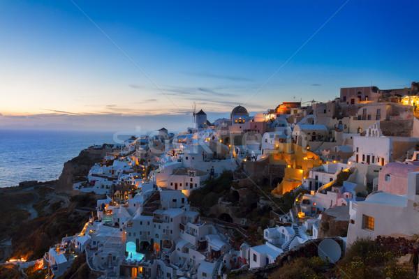 W. noc santorini biały domów Zdjęcia stock © neirfy