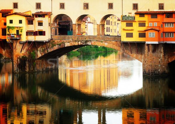 Floransa İtalya ünlü köprü yansıma Retro Stok fotoğraf © neirfy