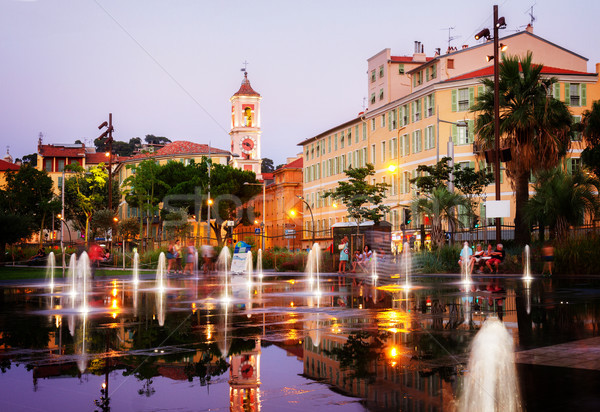 cityscape of Nice at night Stock photo © neirfy