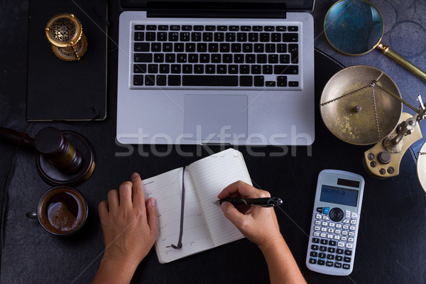 Workspace hero header with law gavel Stock photo © neirfy