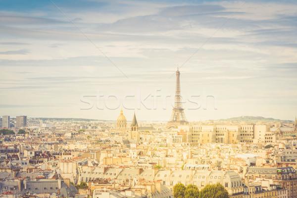 Foto stock: Linha · do · horizonte · Paris · Torre · Eiffel · cidade · acima · macio