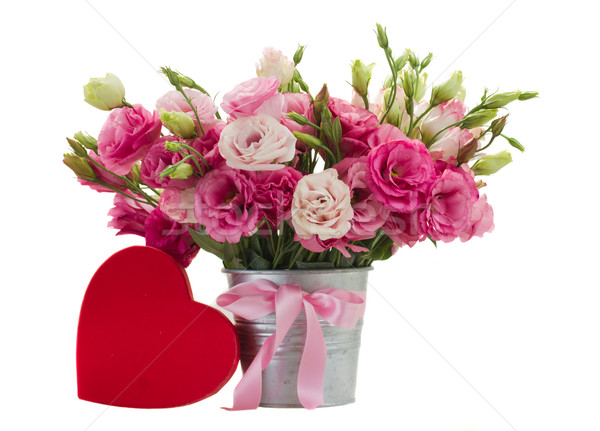 Pink eustoma flowers with red gift  box Stock photo © neirfy