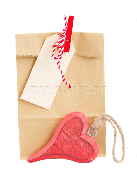 Torby papierowe walentynki tag serca dar odizolowany Zdjęcia stock © neirfy