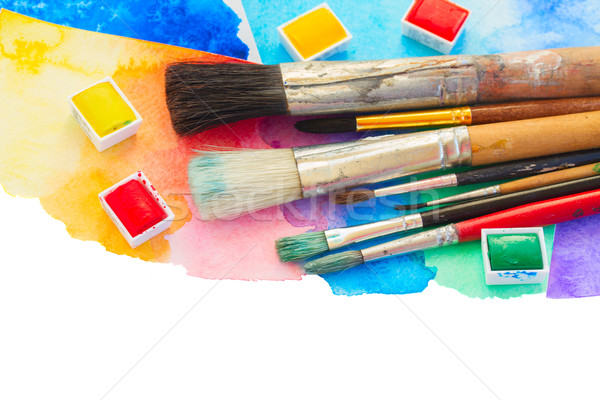 brushes and watercolor paints border Stock photo © neirfy