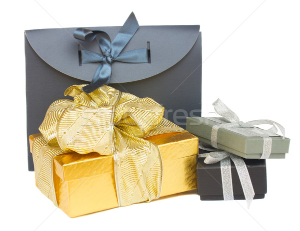 pile of  gift boxes with christmas decorations Stock photo © neirfy