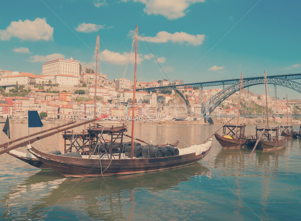 traditional port wine boats, Porto,  Portugal Stock photo © neirfy
