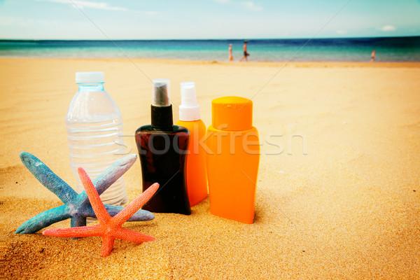 Víz homokos tengerpart üveg hideg tenger oldal Stock fotó © neirfy