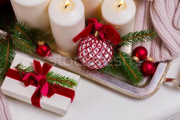 燃焼 出現 キャンドル 白 クリスマス 贈り物 ストックフォト © neirfy