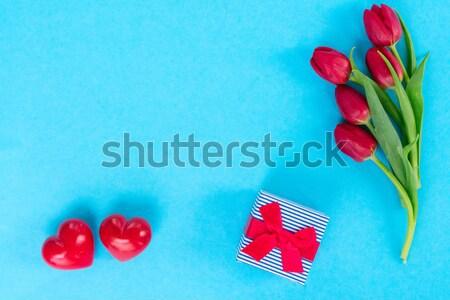 тюльпаны красный два сердцах подарок копия пространства Сток-фото © neirfy