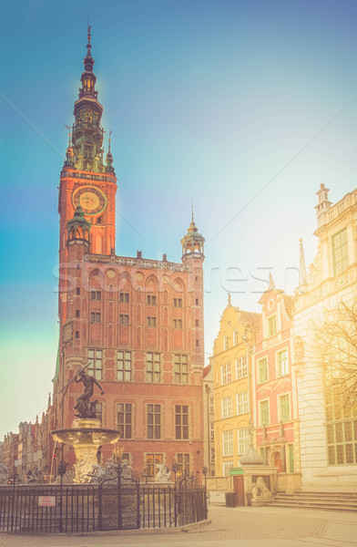 Vista gdansk Polonia ciudad sala largo Foto stock © neirfy