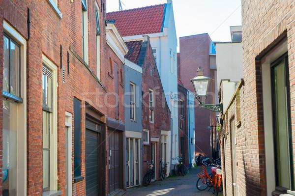 Niederlande wenig gemütlich Fußgänger Straße Altstadt Stock foto © neirfy