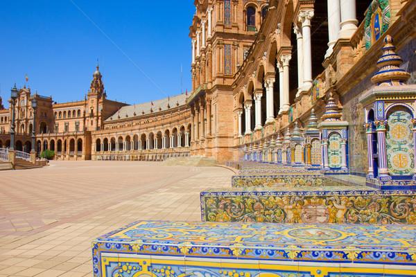benches of  Plaza de España, Seville, Spain Stock photo © neirfy