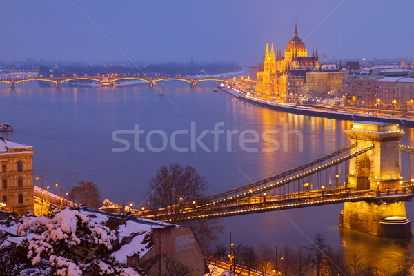 cityscape of  Budapest at night, Hungary Stock photo © neirfy
