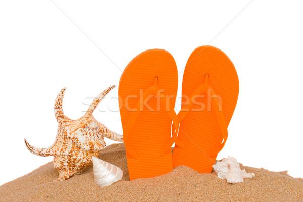 orange sandals and seashells in sand Stock photo © neirfy
