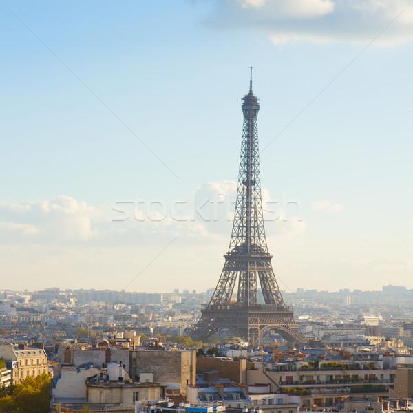 Eiffel tur Paris Cityscape sonbahar gün Stok fotoğraf © neirfy