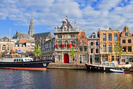 Spaarne river and embankment of Haarlem Stock photo © neirfy