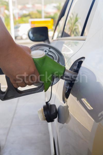 ストックフォト: 車 · 燃料 · 手 · ポンプ · 男