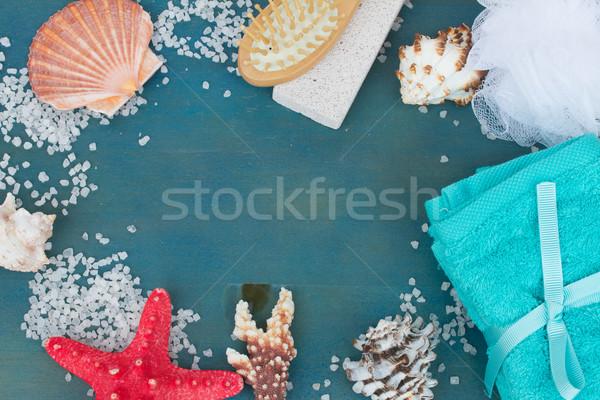 frame of sea salt and shells Stock photo © neirfy