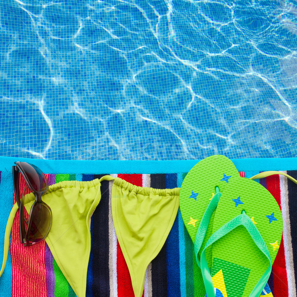 сандалии плаванию костюм полотенце границе пляж Сток-фото © neirfy