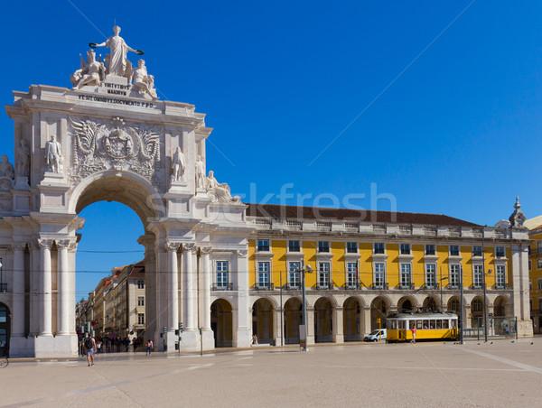 Stockfoto: Boog · Lissabon · Portugal · historisch · gebouw · bezoeker