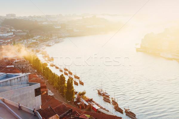 Tepe Portekiz nehir yumuşak ışık Stok fotoğraf © neirfy