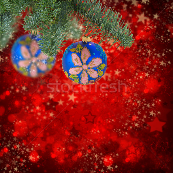 Natal bola enforcamento sempre-viva árvore azul Foto stock © neirfy