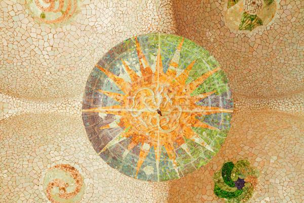 Park Barcelona details mozaiek zomer dag Stockfoto © neirfy