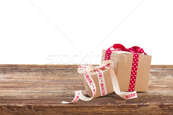 Hecho a mano cajas de regalo dos mesa de madera aislado blanco Foto stock © neirfy