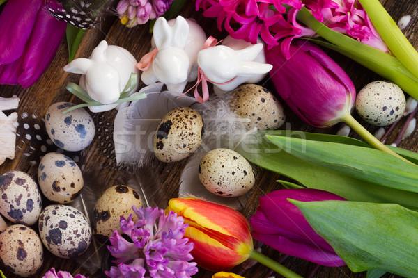 Flores da primavera ovos de páscoa primavera fresco flores branco Foto stock © neirfy