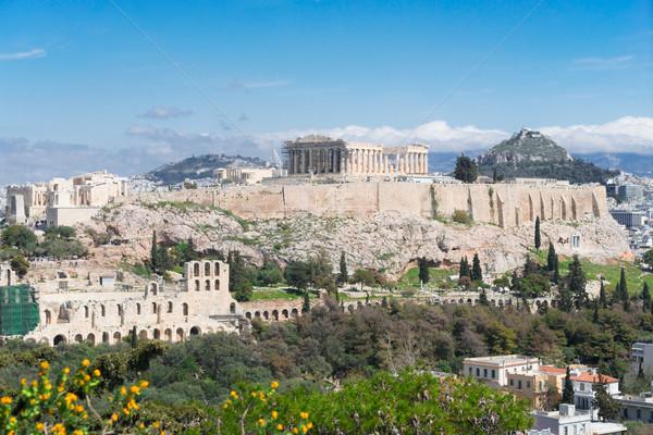 Foto stock: Famoso · linha · do · horizonte · Atenas · Grécia · Acrópole · colina