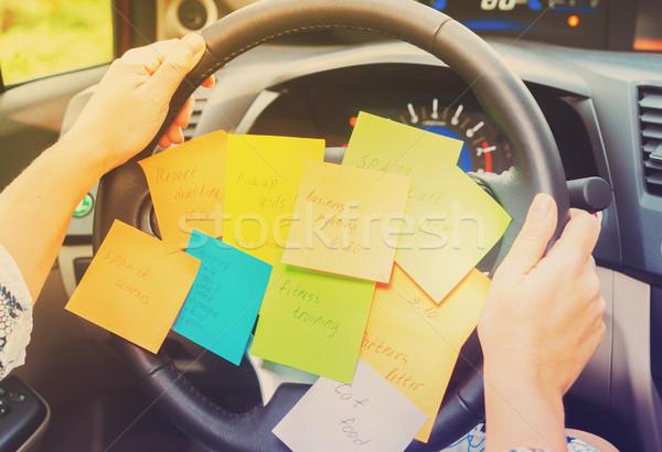 To do list auto rijden wiel drukke dag Stockfoto © neirfy