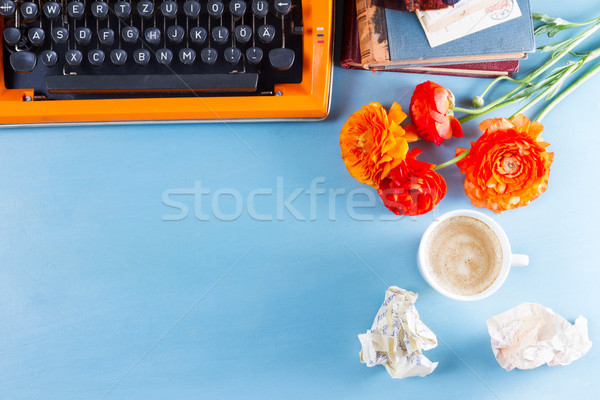 Stock photo: Workspace with vintage orange typewriter