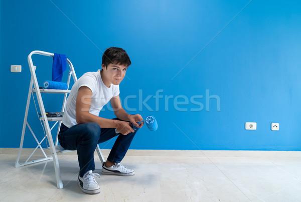 Do it yourself maison peinture équipement chambre bleu Photo stock © neirfy