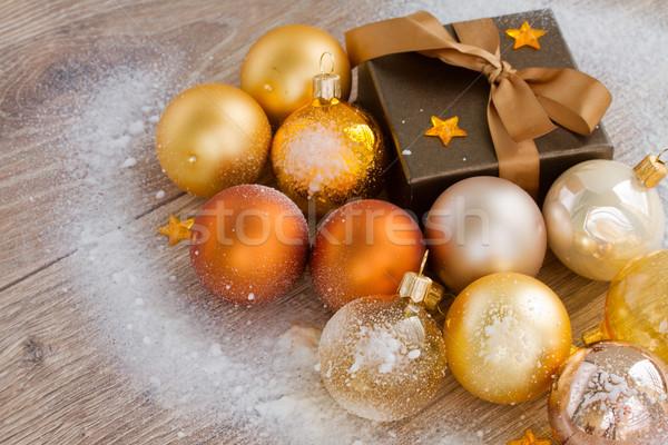 x-mas golden balls  and present Stock photo © neirfy