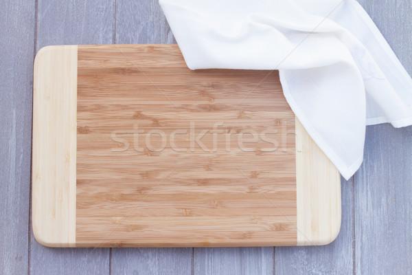 Pusty deska do krojenia serwetka szary tabeli Zdjęcia stock © neirfy