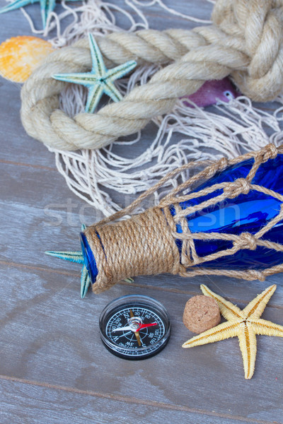 compass on fishing net  Stock photo © neirfy