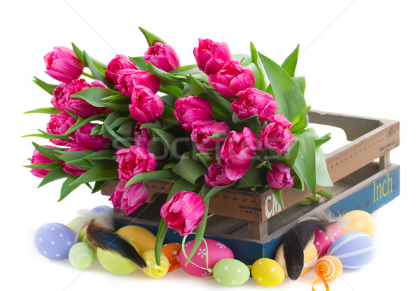 pile of pink tulip flowers  with easter eggs Stock photo © neirfy