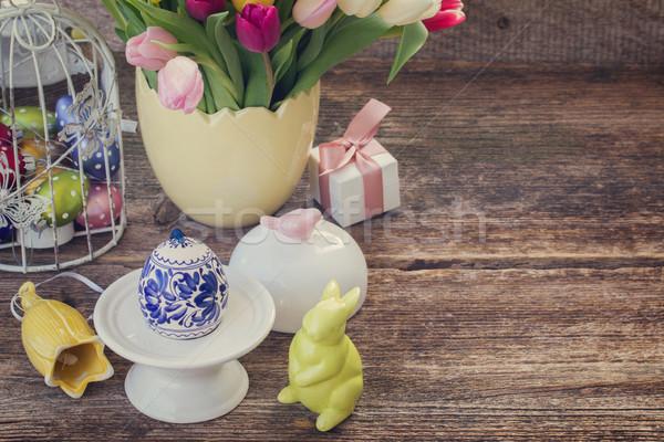 Flores da primavera ovo de páscoa primavera tulipa flores coelho Foto stock © neirfy